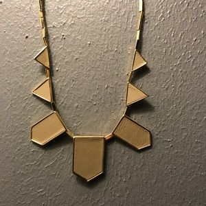 House of Harlow Grey Leather Geo Necklace